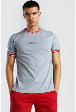 Grey marl MAN Signature With Red Sports Rib Neck