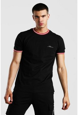 Black MAN Signature T-Shirt With Sport Rib Neck & Cuff