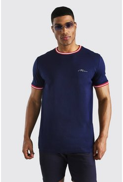 Navy MAN Signature T-Shirt With Sports Rib Neck & Cuff