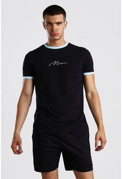 Black MAN Signature T-Shirt With Mint Sports Rib