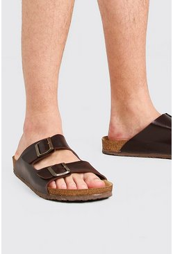 Brown Faux Leather Double Buckle Sandal