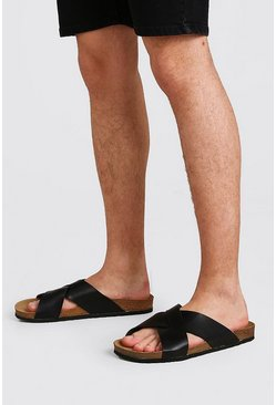 Black Faux Leather Cross Over Sandal