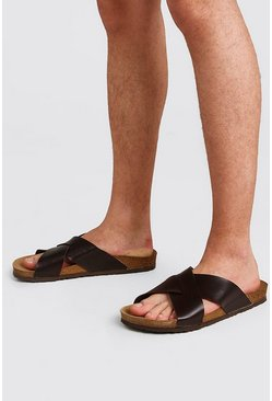 Brown Faux Leather Cross Over Sandal