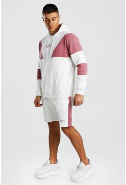 Mauve Original MAN Multi Colour Block Short Tracksuit