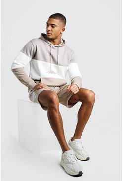 Stone MAN Signature Colour Block Short Hooded Tracksuit