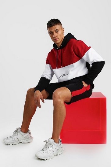 Red MAN Signature Colour Block Short Hooded Tracksuit