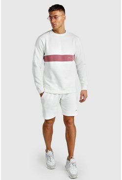 Ecru MAN Signature Colour Block Short Sweater Tracksuit
