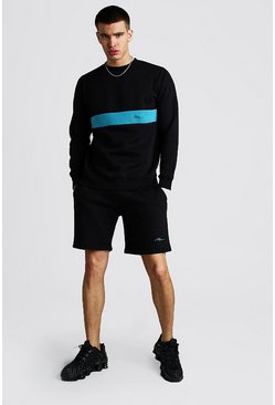 Turquoise MAN Signature Colour Block Short Tracksuit
