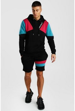 Black MAN Official Colour Block Short Hooded Tracksuit