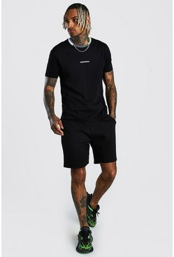 Black MAN Official Colour Block Rib T-Shirt & Short Set