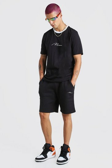 Black MAN Signature Contrast Rib T-Shirt & Short Set