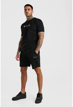 Black MAN Scuba T-Shirt & Pintuck Short Set