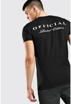 Black Official Man Front + Back Print T-Shirt