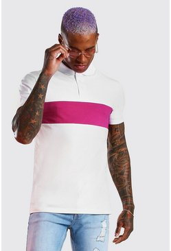 White Muscle Fit Colour Block Polo