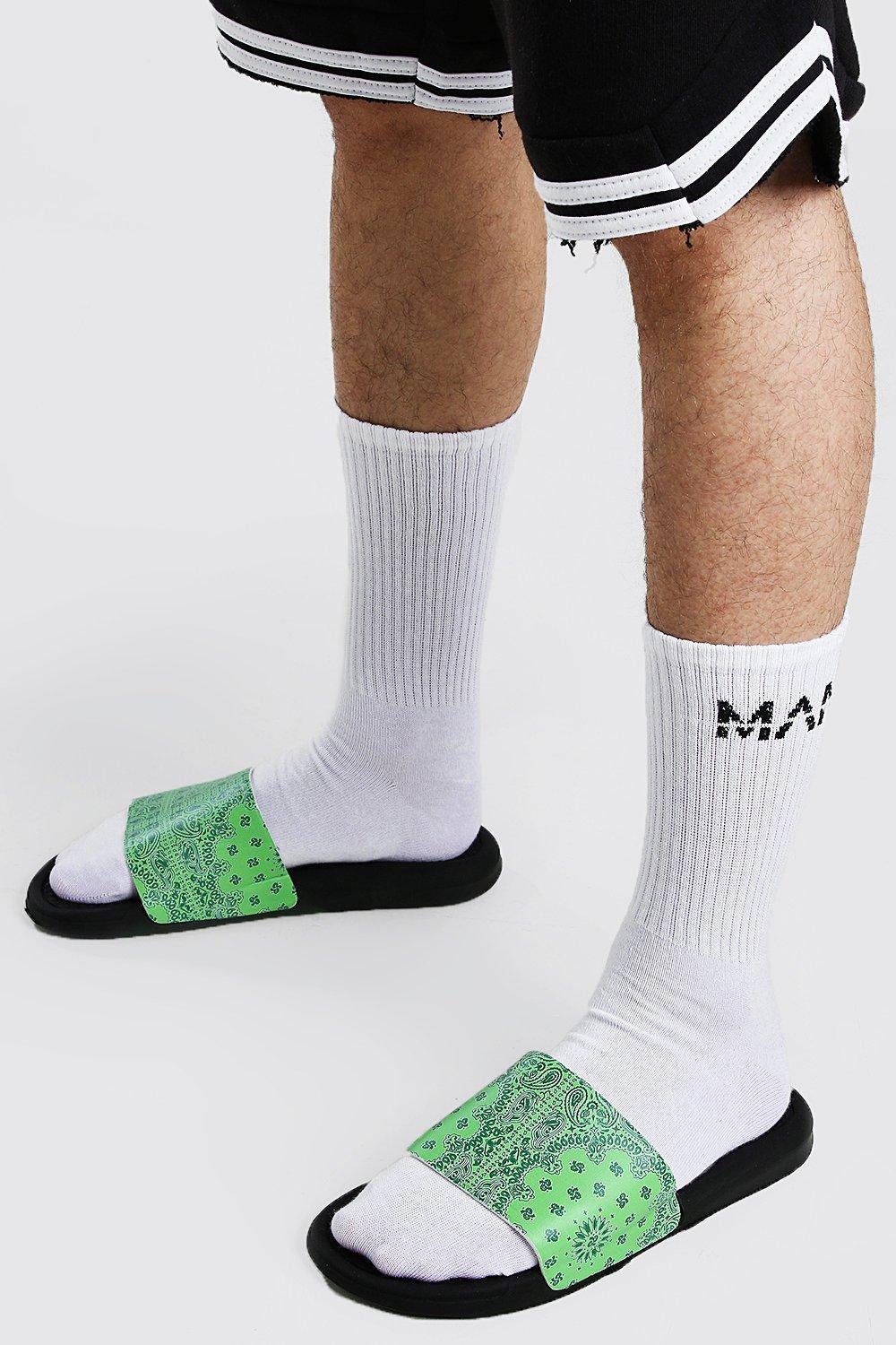 mens bandana print slides - green