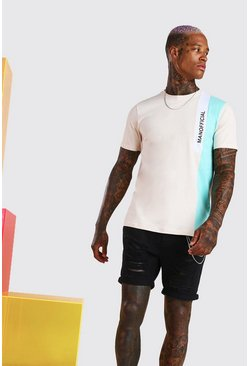MAN Official T-Shirt mit Colorblock, Naturfarben