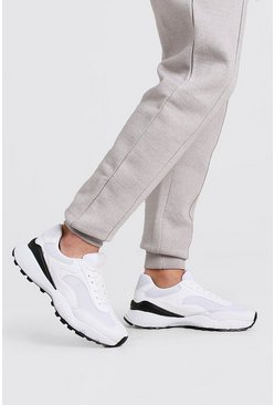 White Hiker Sole Panelled Sneakers