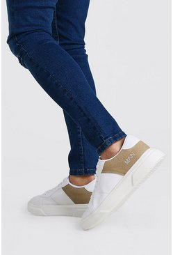 White Part Suedette Outsole Trainer
