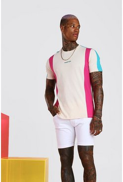 T-shirt colour block MAN officiel, Rose