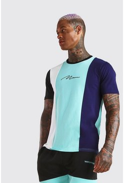 T-shirt colour block signature MAN, Marine
