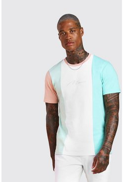 T-shirt colour block signature MAN, Blanc