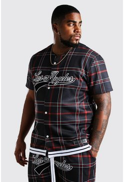 Black Big And Tall Tartan Los Angeles Jersey T-Shirt