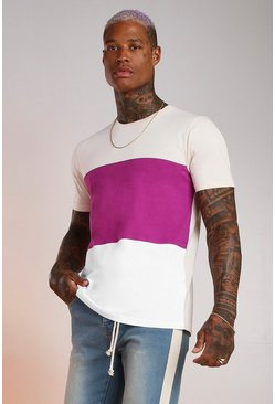 Ecru Colour Block T-Shirt
