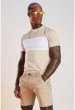 Taupe Longline Muscle Fit Colour Block T-Shirt