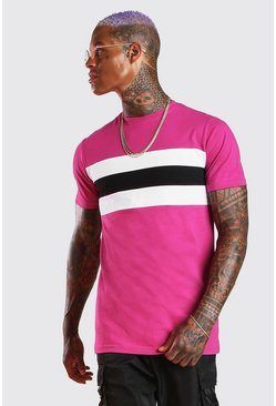 Lang geschnittenes Muscle Fit T-Shirt im Colorblock-Design, Rosa