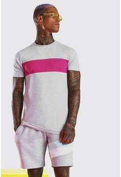Lang geschnittenes Muscle Fit T-Shirt im Colorblock-Design, Grau