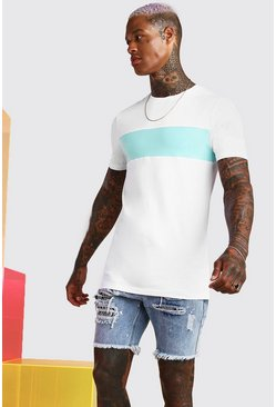 T-shirt long color-block coupe moulante, Blanc