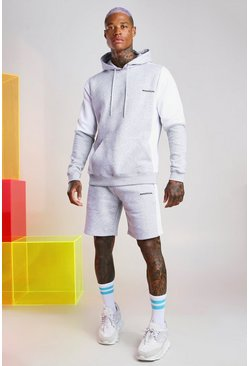 Grey MAN Official Colour Block Short Tracksuit
