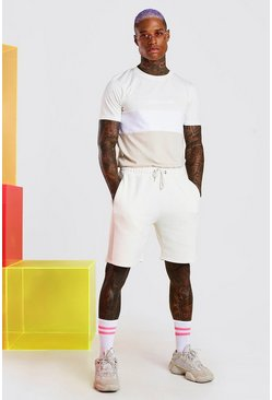 Ecru MAN Official Colour Block Short Set