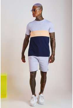 Grey MAN Signature Colour Block Short Set