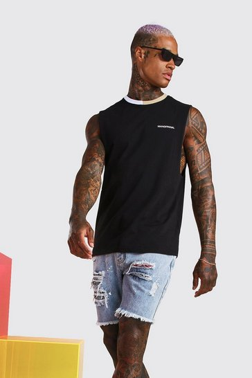 Black MAN Official Drop Armhole Tank With Contrast Neck