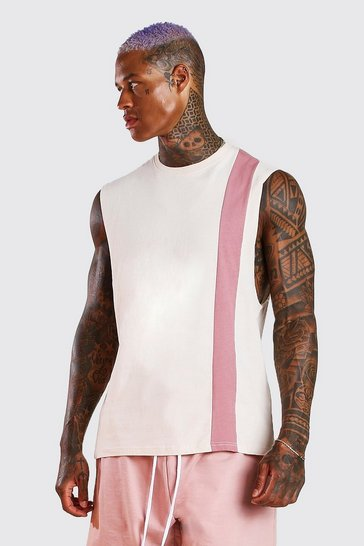 Ecru Colour Block Drop Armhole Tank