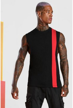 Red Colour Block Drop Armhole Tank