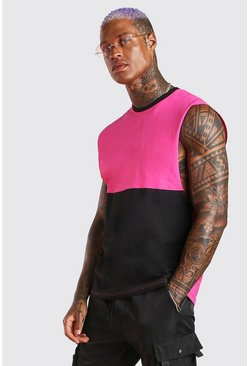 Black Colour Block Drop Armhole Tank
