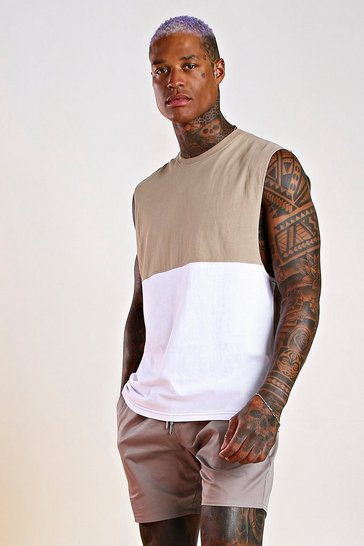 Taupe Colour Block Drop Armhole Tank
