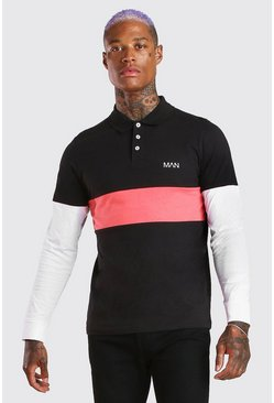 Black Original MAN Long Sleeve Colour Block Polo