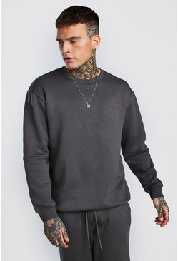 Charcoal Loose Fit Panelled Sweater Tracksuit