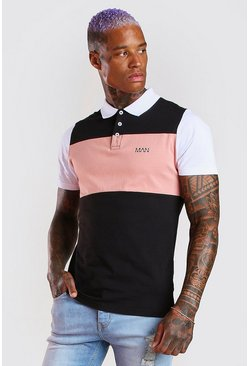 Black Original MAN Colour Block Polo