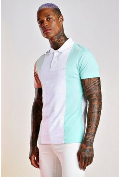 White MAN Signature Colour Block Polo