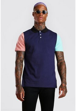 Navy Colour Block Polo