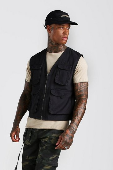 Black 4 Pocket Cotton Utility Vest