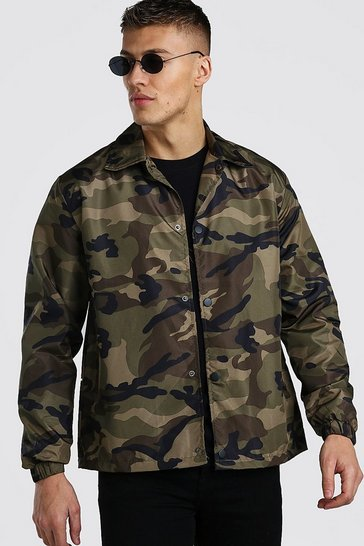 Khaki Camo Lightweight Zip Through Coach Jacket