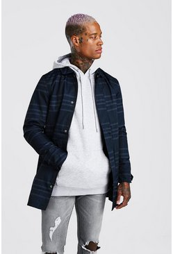 Navy Single Breasted Check Mac