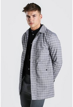 Light grey Single Breasted Check Mac