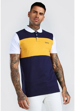 Navy Original MAN Colour Block Polo