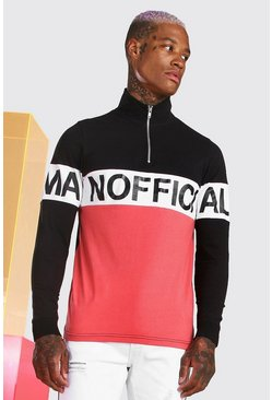 Black Official MAN Long Sleeve Colour Block Polo